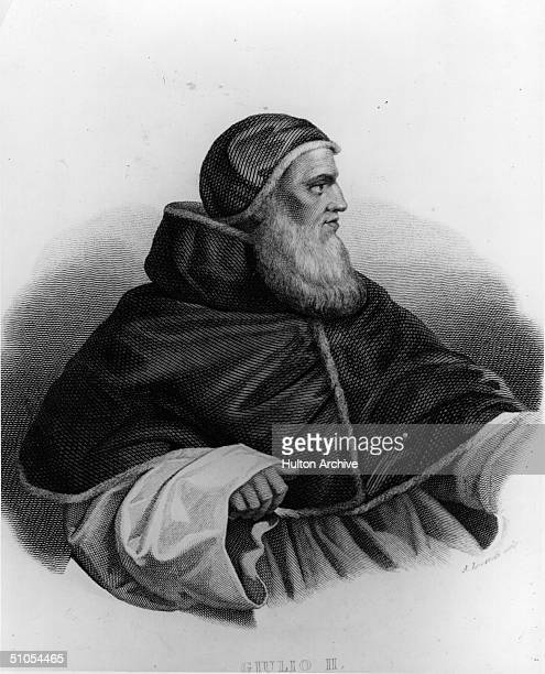 Pope Julius II born Giuliano della Rovere who held the office of Pope from 1503 until his death pictured circa 1510 Engraving by Locatelli