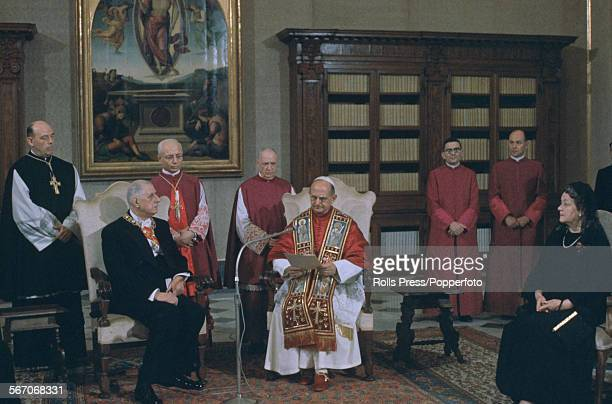 Pope Paul VI meets with President of France Charles de Gaulle and his wife Yvonne de Gaulle at the Vatican Palace in Rome Italy on 2nd June 1967