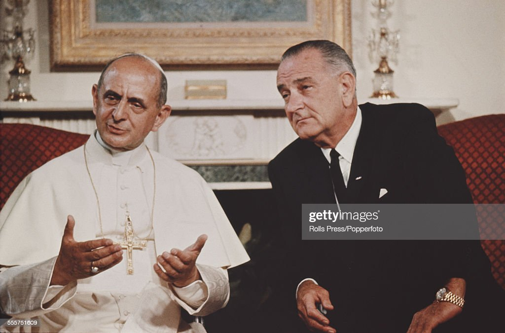 Pope Paul VI meets with President of the United States Lyndon B Johnson at the Waldorf Astoria Hotel in New York on 4th October 1965