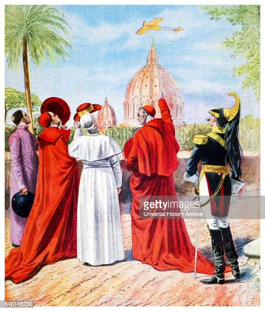 Pope Pius X watching the airplane of Andre Beaumont flying over Rome from the Vatican terrace Illustration from 'Le Petit Journal' 1911