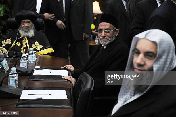 Pope Shenuda III head of the Egyptian Coptic Orthodox Church meets with Mohammed Badie head of Egypt's Muslim Brotherhood and Salafist cleric...