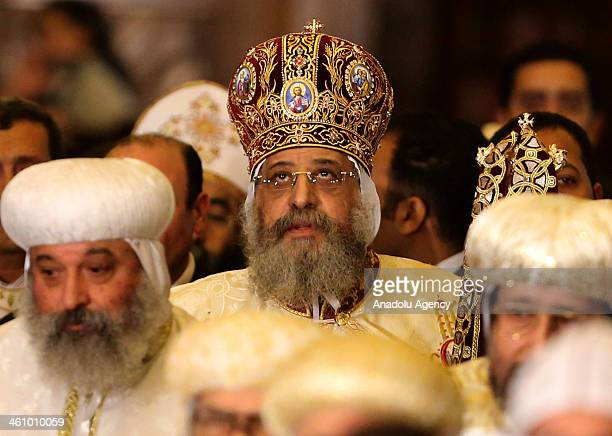 Pope Tawadros II the Patriarch of the Coptic Orthodox Church leads Christmas mass at Saint Mark's Coptic Orthodox Cathedral in Cairo Egypt January 6...