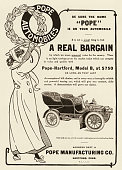 A PopeHarford Model B automobile is shown in a magazine advertisement dated 1905 The price for the Model B as listed in the ad is $750