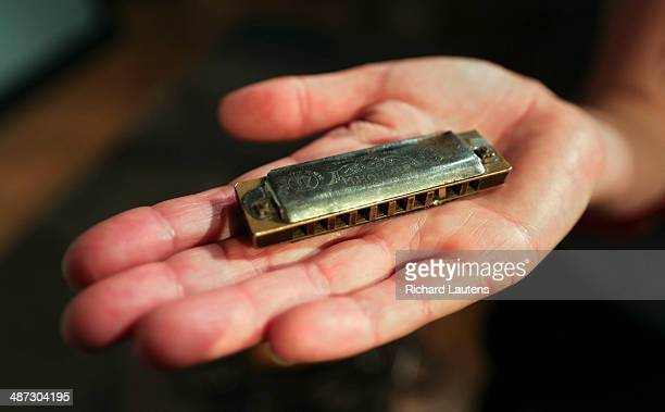 Poperinghe Belgium April 27 Ingeborg Sohier shows off the tiny harmonica that was given to her grandfather as a boy by a soldier during WW1 in...