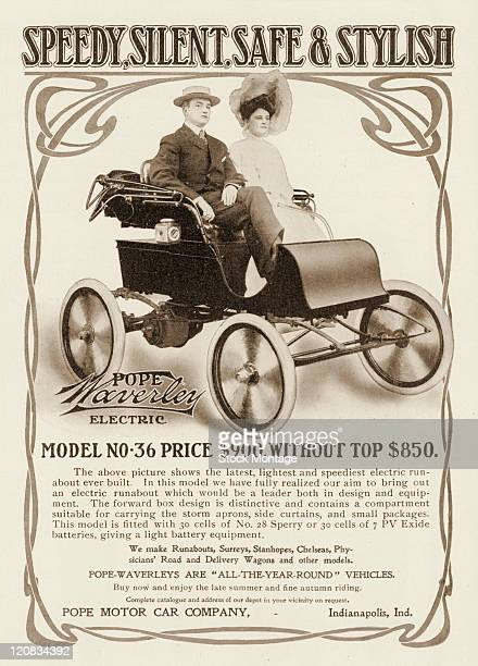 A PopeWaverly electric automobile is pictured in a magazine advertisement from 1904 The runabout Model No 36 is priced at $900 without top $850 The...