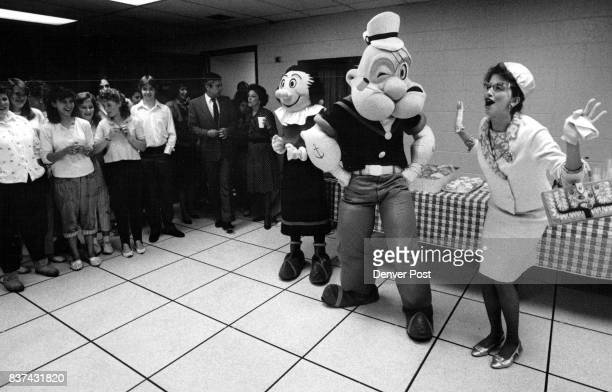 Popeye and Olive Oil arrived with their Press Secretary Sandy Beach arrived at Union Station Friday morning to promote Elich Gardens Miss Beach acted...
