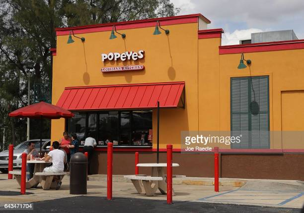 Popeyes restaurant is seen on February 21 2017 in Miami Florida Burger King and Tim Horton's owner Restaurant Brands International has announced...