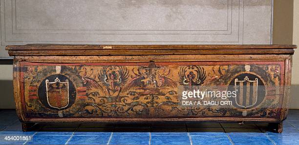 Poplar wood wedding chest painted with coats of arms Italy 16th century Milan Castello Sforzesco Civiche Raccolte D'Arte Applicata Ed Incisioni...