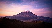 Popocatepetl Volcano at dawn, Mexico