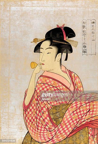 Poppen o fuku musume Ukiyoe woodcut print private collection