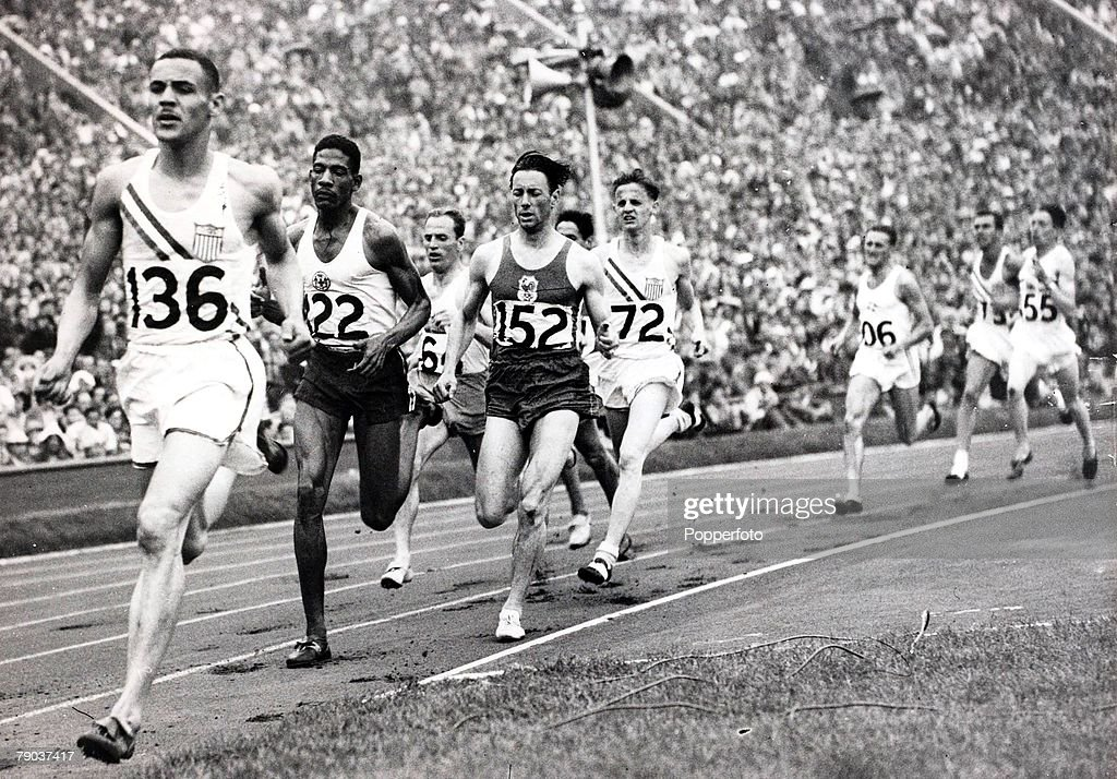 Popperfoto, The Book, Volume 1, Page 89, Picture 5, 1948 Olympic games, London, England, Mens 800 metres, A picture of a group of atheletes rounding the bend of which Malvin Whitfield of the USA went on to win