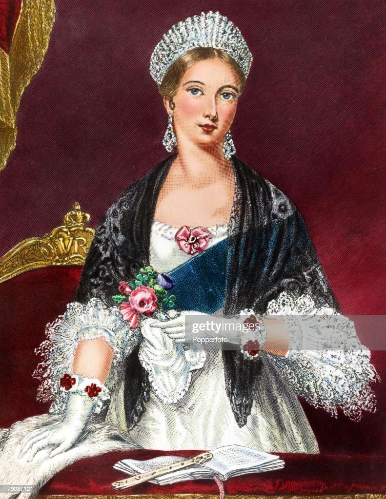Popperfoto, The Book Volume 1, Page 53, Picture 3, A colour Illustration of H,R,H Queen Victoria as a young lady wearing a smart outfit and a jewelled crown, smiling in 1838