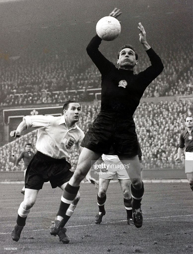 Popperfoto, The Book, Volume 1, Page 85, Picture 9, Football, 25th November 1953, Wembley Stadium, London, England 3 v Hungary 6, England's Stan Mortensen challenges the Hungarian goalkeeper, Grosics, during the match