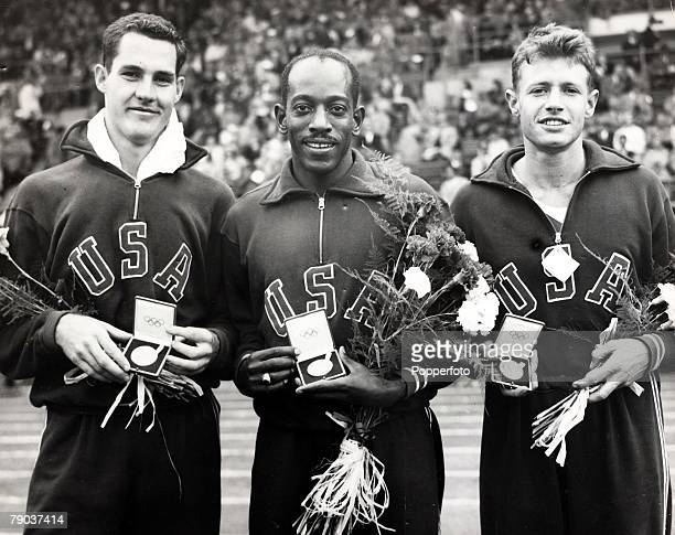 Popperfoto The Book Volume 1 Page 89 Picture 3 1952 Olympic games in Helsinki A picture of the 110m hurdles medalists JW Davis H Dillard and A Barnard