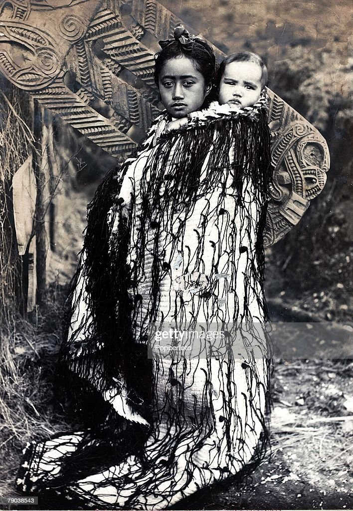 2, Maori mother and baby on her back, Antipodes, circa 1890