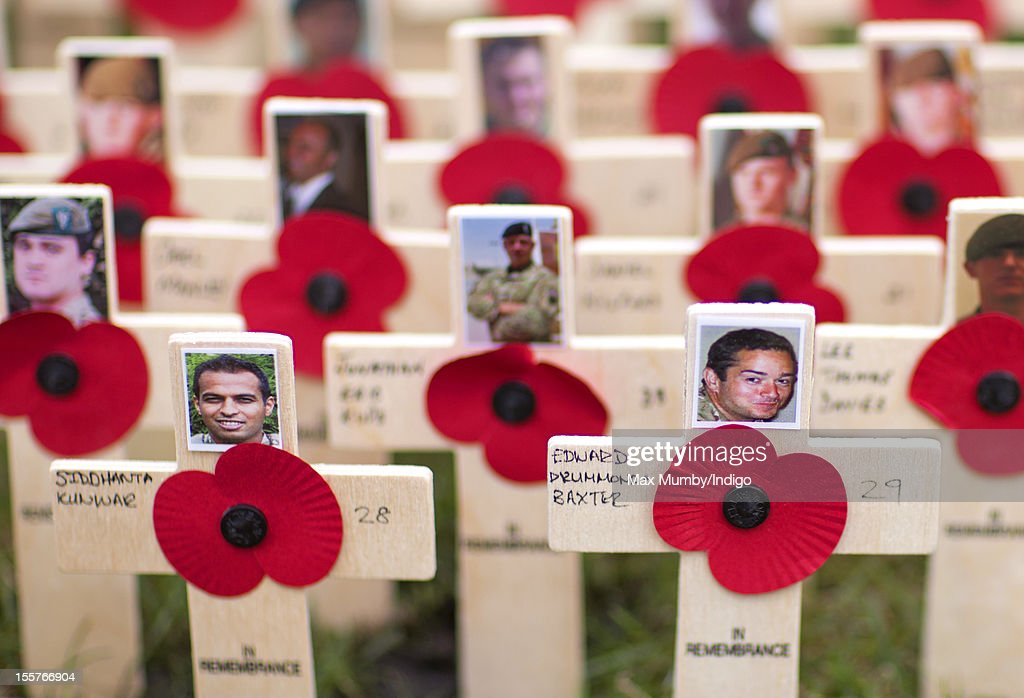 Poppies and crosses in memory of soldiers L/Cpl Siddhanta Kunwar and Lt Edward Drummond-Baxter, the latest members of the British Armed Forces to be killed in action whilst serving in Afghanistan, placed in The Field of Remembrance at Westminster Abbey on November 08, 2012 in London, England.