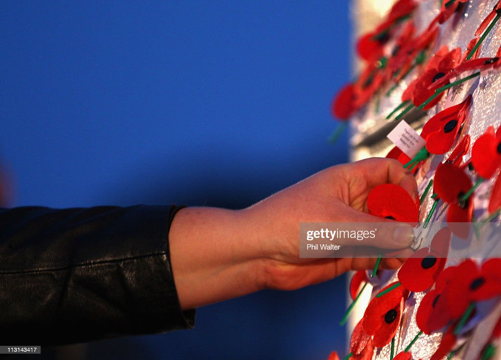 Poppies are placed on the Cenotaph at the Auckland War Memorial Museum for the ANZAC Day Dawn Service on April 25, 2011 in Auckland, New Zealand. Veterans, dignitaries and members of the public today marked ANZAC (Australia New Zealand Army Corps) Day, when First World War troops landed on the Gallipoli Peninsula, Turkey early April 25, 1915, commemorating the event with ceremonies of remembrance for those who fought and died in all wars.