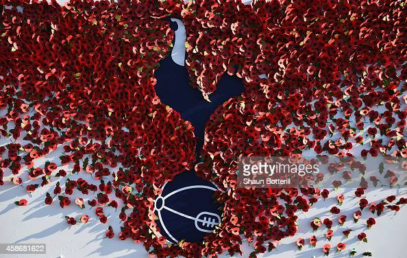 Poppies outside the stadium on Rememberence Sunday before the Barclays Premier League match between Tottenham Hotspur and Stoke City at White Hart...