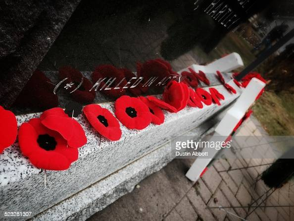 Poppies placed in memorial to the fallen at the conclusion on a Remembrance Day ceremony in rural New Brunswick Canada Hundreds of people came from...
