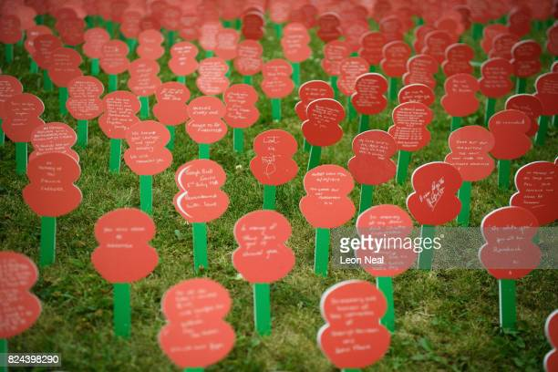 Poppies with personalised messages from members of the British public are seen at the Tyne Cot Cemetery on July 29 2017 in Zonnebeke in the Ypres...