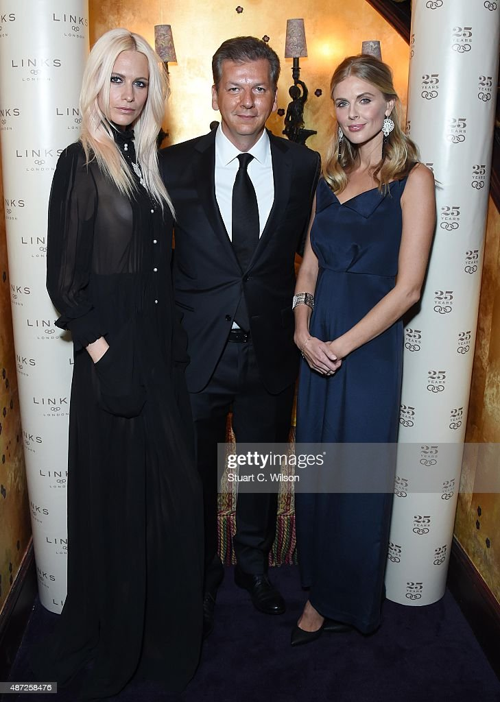 Poppy Delevigne, George Koutsolioutsos and Donna Air attend the Links Of London 25th Anniversary Event at Loulou's on September 7, 2015 in London, England.