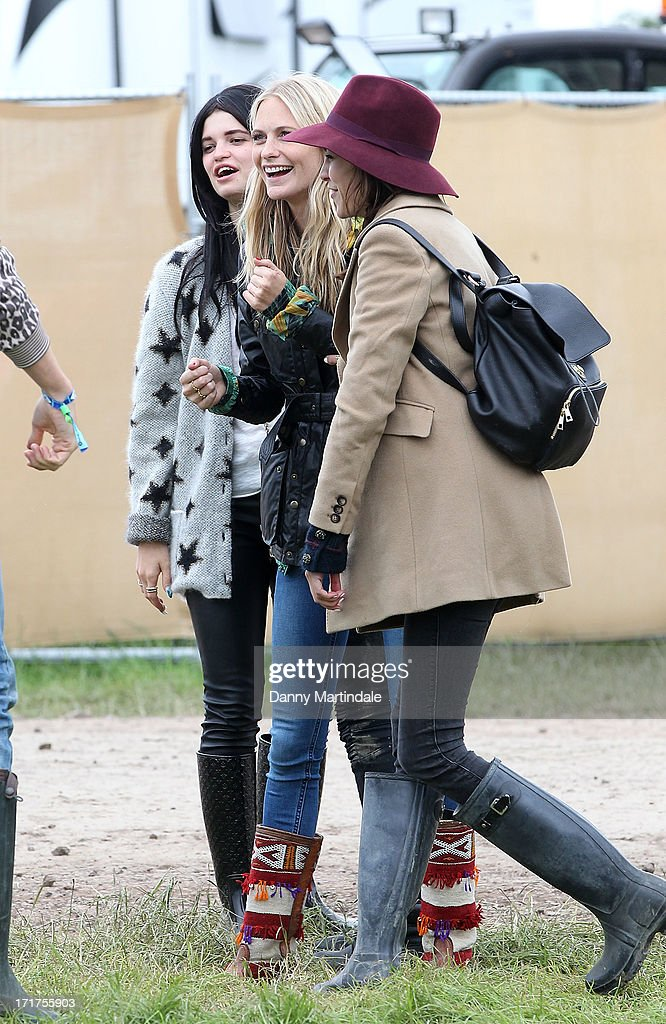 Poppy Delevingne, Alexa Chung and Pixie Geldof during/performs at day 2 of the 2013 Glastonbury Festival at Worthy Farm on June 28, 2013 in Glastonbury, England.