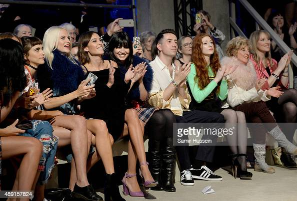 Poppy Delevingne Alexa Chung Daisy Lowe Nick Grimshaw Nicola Roberts Stephanie Holland and Jade Parfitt attend the Henry Holland show during London...