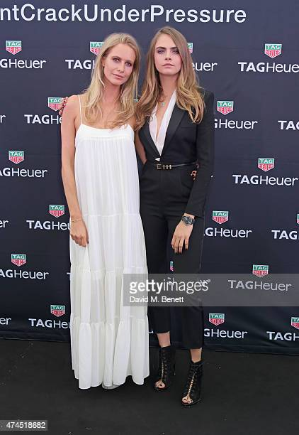 Poppy Delevingne and Cara Delevingne attend the TAG Heuer Monaco Party on May 23 2015 in Monaco Monaco