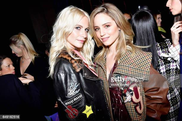 Poppy Delevingne and Dianna Agron attend the Miu Miu show as part of the Paris Fashion Week Womenswear Fall/Winter 2017/2018 on March 7 2017 in Paris...