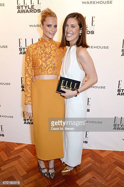 Poppy Delevingne and Emilia Wickstead winner of Red Carpet Designer of the Year pose in the winners room at the Elle Style Awards 2014 at One...