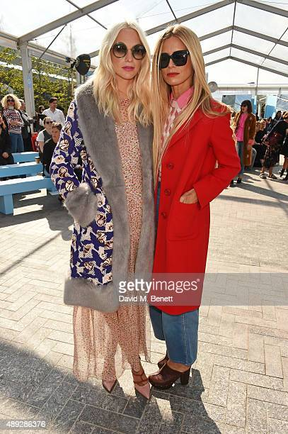 Poppy Delevingne and Laura Bailey attend the Jonathan Saunders show during London Fashion Week SS16 at Lewis Cubitt Square King's Cross on September...