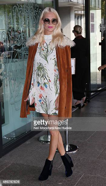 Poppy Delevingne arrives at Topshop Unique fashion show on September 20 2015 in London England
