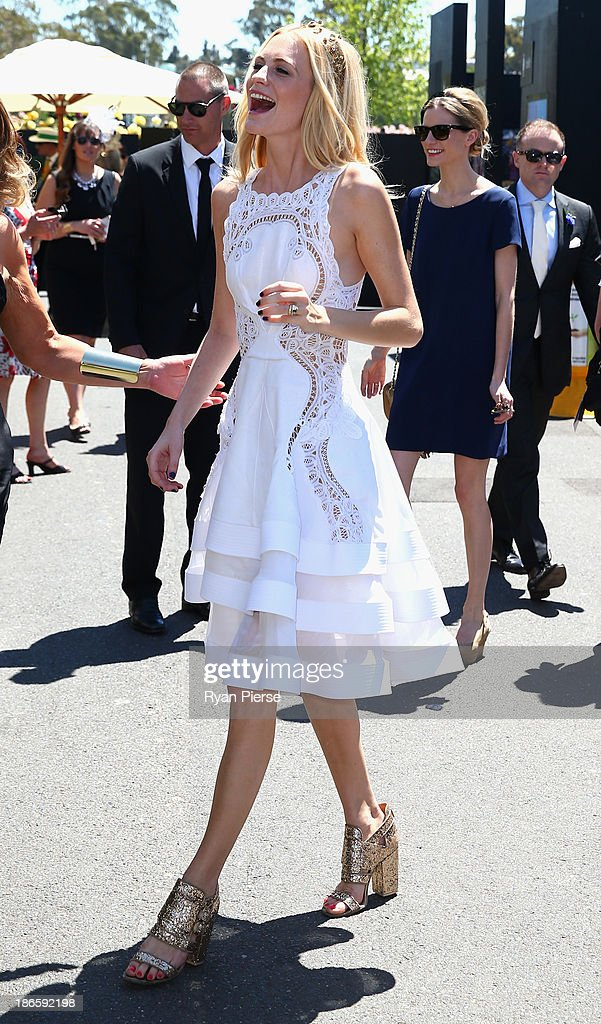 Poppy Delevingne arrives on Victoria Derby Day at Flemington Racecourse on November 2 2013 in Melbourne Australia