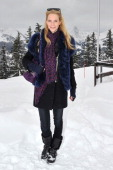 Poppy Delevingne attends ASMALLWORLD lunch at a Mountian Chalet on December 15 2012 in Gstaad Switzerland
