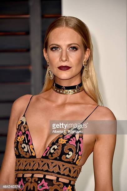 Poppy Delevingne attends the 2015 Vanity Fair Oscar Party hosted by Graydon Carter at Wallis Annenberg Center for the Performing Arts on February 22...