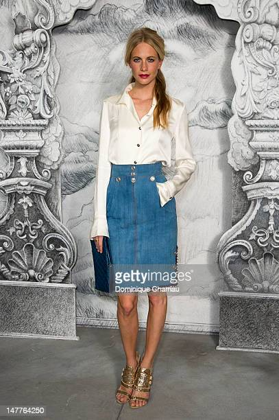 Poppy Delevingne attends the Chanel HauteCouture Show as part of Paris Fashion Week Fall / Winter 2012/13 at Grand Palais on July 3 2012 in Paris...