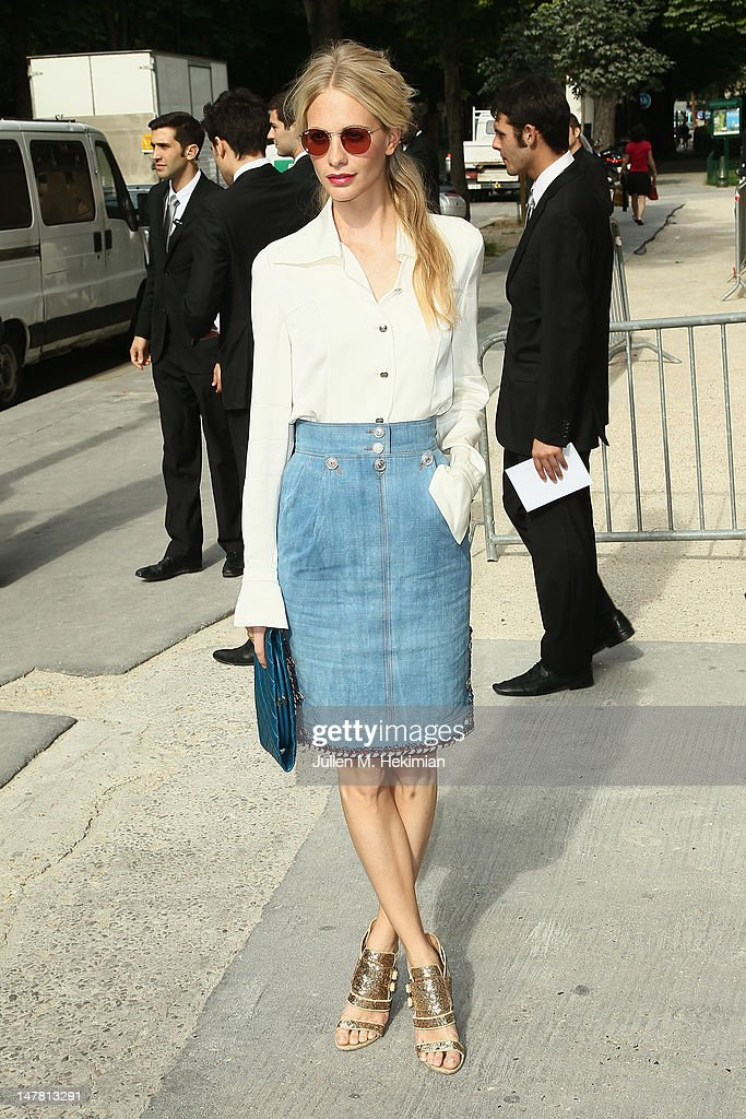 Poppy Delevingne attends the Chanel Haute-Couture Show as part of Paris Fashion Week Fall / Winter 2012/13 at Grand Palais on July 3, 2012 in Paris, France.