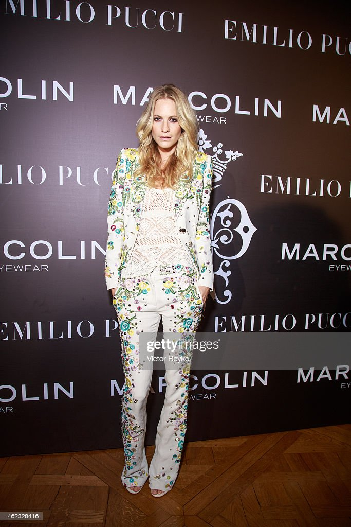 Poppy Delevingne attends the Emilio Pucci eyewear launch cocktail and dinner at the Italian embassy in on January 26 2015 in Paris France