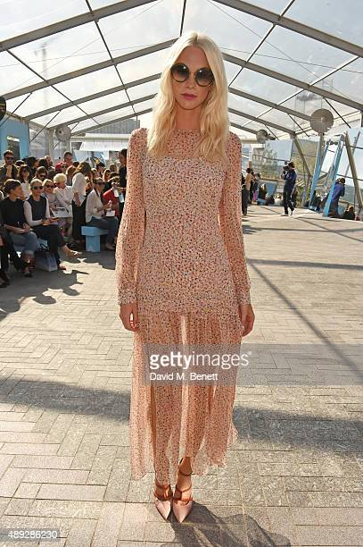 Poppy Delevingne attends the Jonathan Saunders show during London Fashion Week SS16 at Lewis Cubitt Square King's Cross on September 20 2015 in...