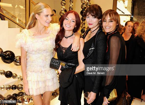 Poppy Delevingne Clara Paget Jasmine Guinness and Yasmin Le Bon attend a private view of the new CHANEL flagship boutique on New Bond Street on June...