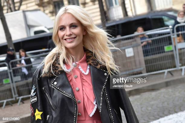 Poppy Delevingne is seen arriving at Miu Miu fashion show during the Paris Fashion Week Womenswear Fall/Winter 2017/2018 on March 7 2017 in Paris...