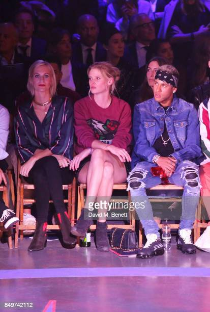 Poppy Delevingne Lara Stone and Neymar attend the Tommy Hilfiger TOMMYNOW Fall 2017 Show during London Fashion Week September 2017 at The Roundhouse...
