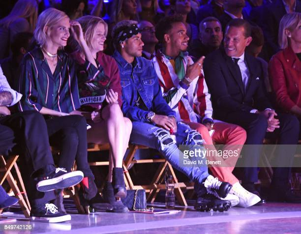 Poppy Delevingne Lara Stone Neymar Lewis Hamilton and Frank Cancelloni attend the Tommy Hilfiger TOMMYNOW Fall 2017 Show during London Fashion Week...