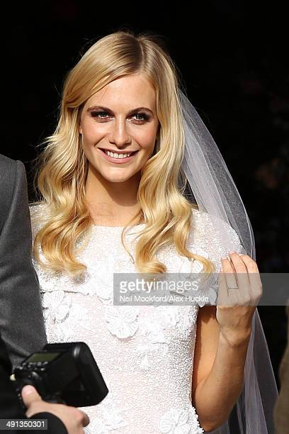 Poppy Delevingne leaving St Paul's Church after their wedding on May 16 2014 in London England