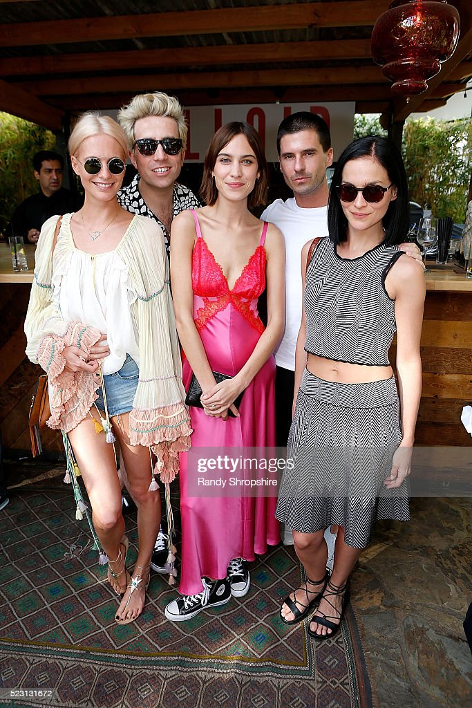 Poppy Delevingne, Nick Grimshaw, Alexa Chung, Geordon Nicol and Leigh Lezark attend the Villoid garden tea party hosted by Alexa Chung at the Hollywood Roosevelt Hotel on April 21, 2016 in Hollywood, California.