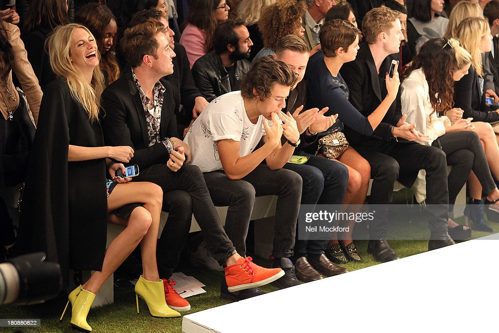 Poppy Delevingne, Nick Grimshaw, Harry Styles and Pixie Geldof seen at a Fashion East fashion show on September 17, 2013 in London, England.