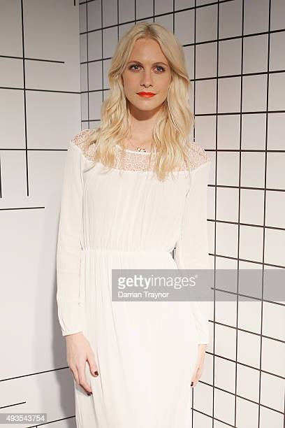 Poppy Delevingne poses for a photo at the launch of the first Australian MRP store at Melbourne Central on October 21 2015 in Melbourne Australia