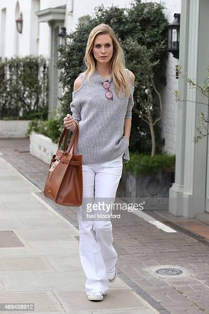 Poppy Delevingne seen carrying a Kurt Geiger bag on April 10 2015 in London England