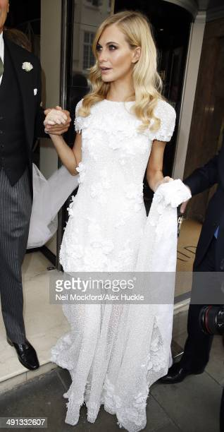 Poppy Delevingne sighted leaving Claridges Hotel before her wedding on May 16 2014 in London England