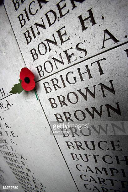 A poppy is left on a a wall displaying the names of the missing on the Menin Gate Memorial on November 5 2008 in Ypres Belguim The Commonwealth War...